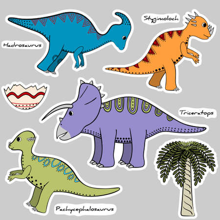 Set of stickers stylized dinosaurs, shell and tree