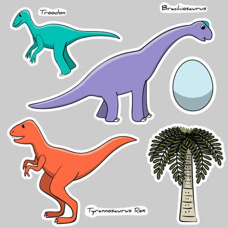 Set of stickers stylized dinosaurs, egg, tree Illustration