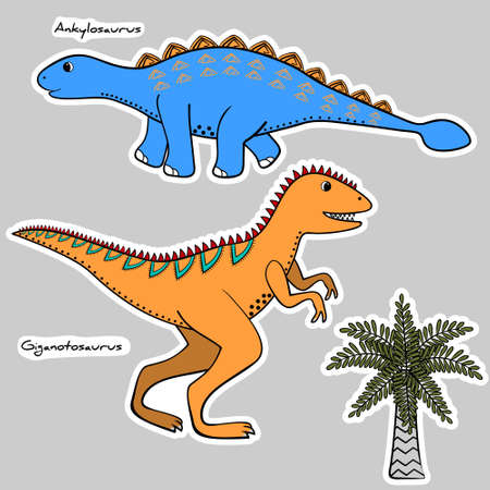 Set of stickers stylized dinosaurs and tree