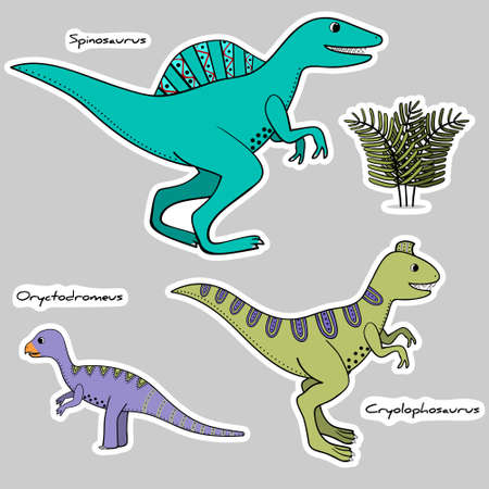 Set of stickers of stylized dinosaurs with an ethical painting, names Illustration