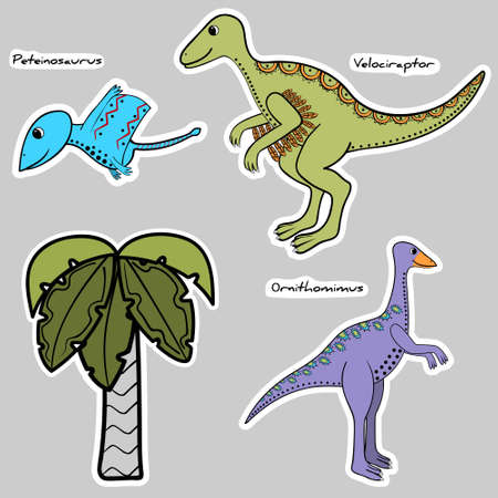 set of stickers stylized dinosaur and tree