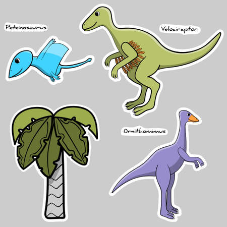 Set of stickers stylized dinosaur and tree.