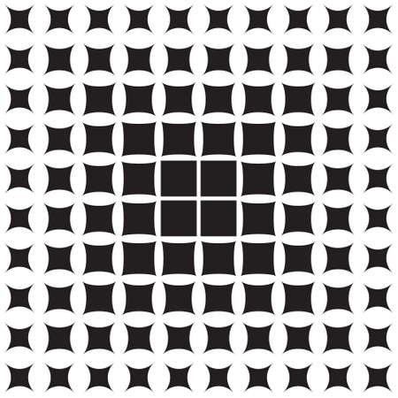 Abstract pattern of geometric shapes decreasing to the edge, halftone