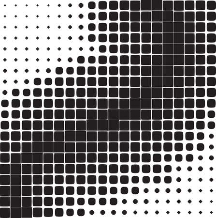 Abstract background of black geometric shapes of different sizes, halftone