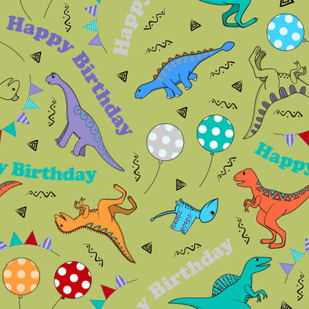 Children seamless background with stylized dinosaurs, balls, garlands and inscription happy birthday