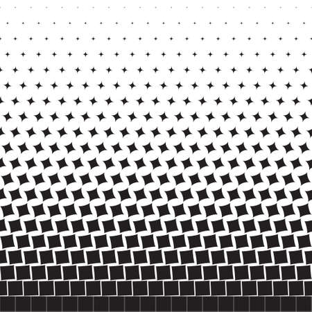 Abstract geometric background of black turning squares, halftone