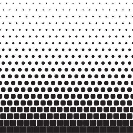 Abstract seamless geometric pattern from figures of different sizes, halftone Illustration