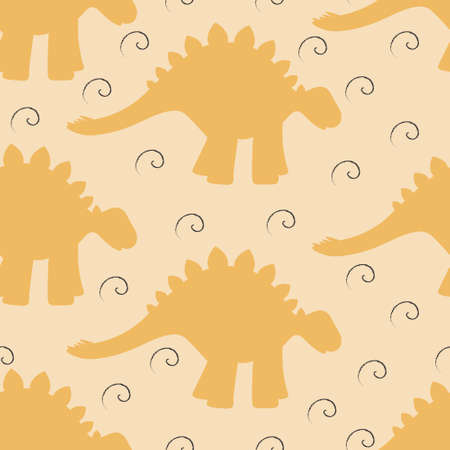 Baby seamless background with dinosaur silhouettes and swirls