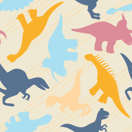 Childrens pattern with multi-colored silhouettes of dinosaurs and lines
