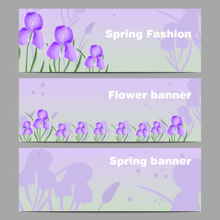 Banners with flowers irises, imitation of watercolors, global color