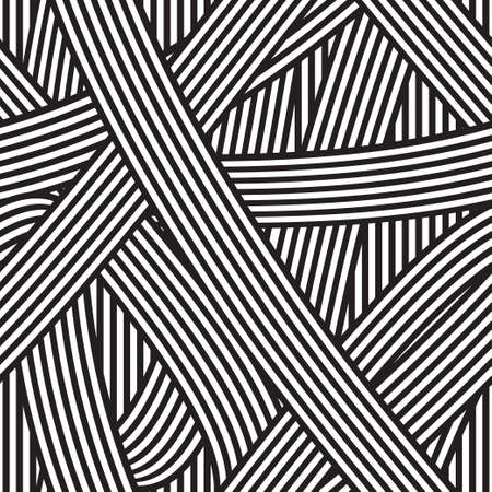 Seamless abstract background. Black and white stripes. Illustration