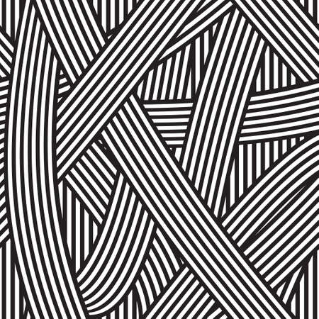 Seamless abstract background, black and white stripes Ilustração