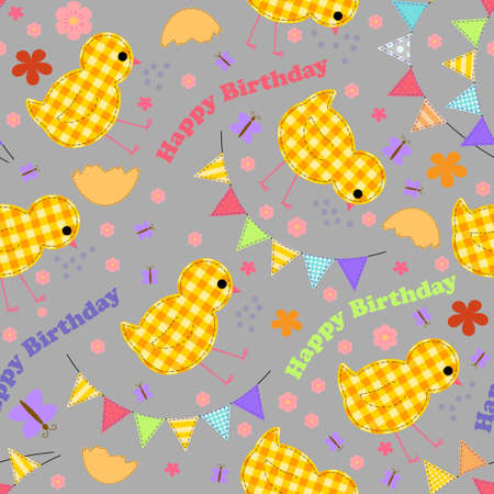 Kids seamless background with chickens, garlands and words with a happy birthday