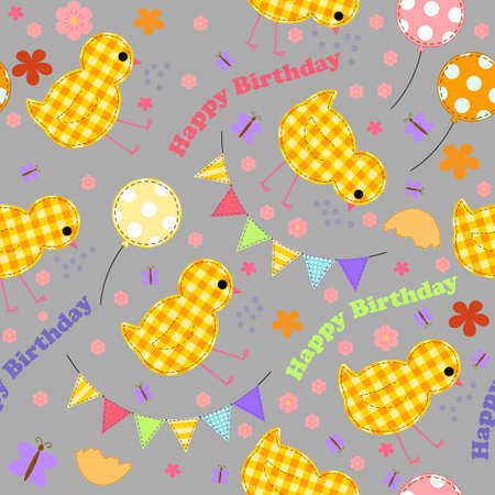 Kids background with chickens, balloons, garlands, inscription of a happy birthday