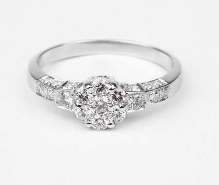 A contemporary diamond ring isolated on white background.