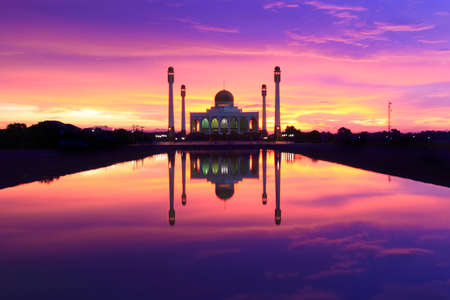 Power of Sunset over Central Mosque Songkhla,Thailand  photo
