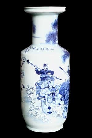 Chinese Ceramic Vases Isolated On Black Background Stock Photo