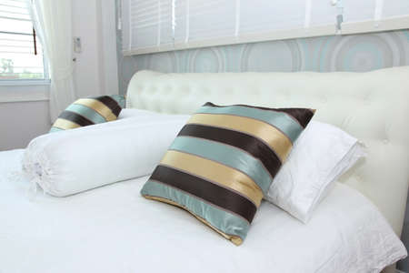 kingsize: Pillow on white bed in a bedroom, my bedroom