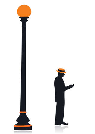 Silhouette of a lamp post and the old man of 20-30 years of 19 century