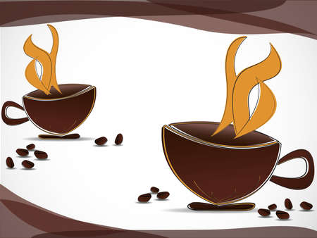 Two coffee cups and coffee beans scattered Stock Vector - 13496115