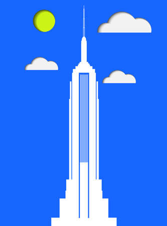 New York Empire State Building paper vector art Çizim