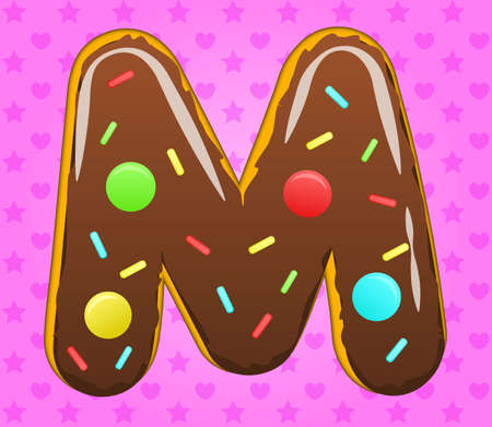 Vector sweet illustration of M donut text. Eps 10