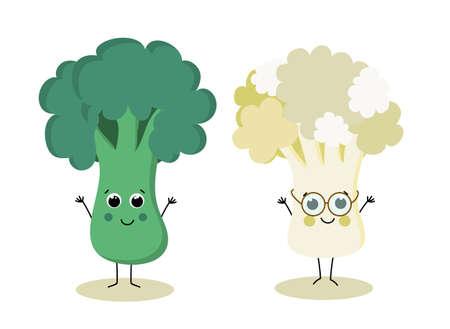 A Vector cute Cartoon broccoli and cauliflower. Organic fresh food Vettoriali