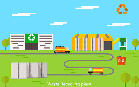 Vector flat design concept illustration of waste recycling plant. Vettoriali