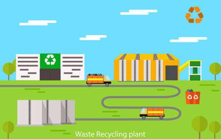Vector flat design concept illustration of waste recycling plant. Illustration