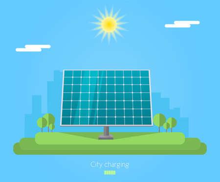 Banner for sun panel. Solar energy for city charging Illustration