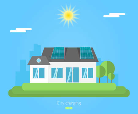 Solar panel on the roof of house. Illustration