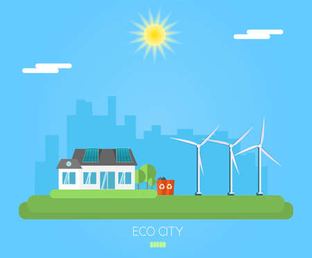 Ecology wind and solar energy illustration Eco city banner.