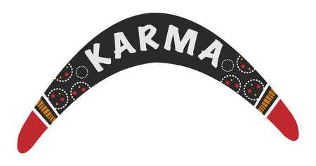 Karma word  in a boomerang illustration.