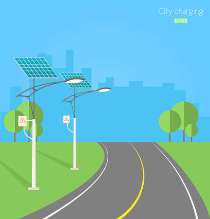 Solar street lights. Ecology background