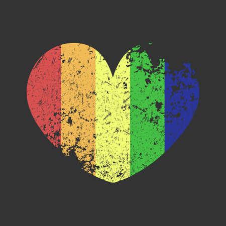 LGBT HEART vector grunge banner retro style