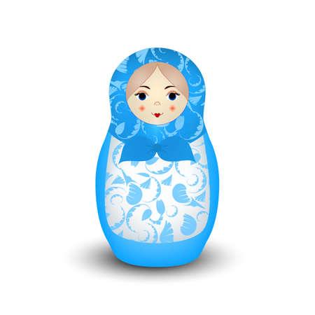 Vector realistic blue Russian nesting doll Illustration