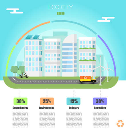 A Vector Eco city infographic. Industry, green energy, Environment banner Illustration