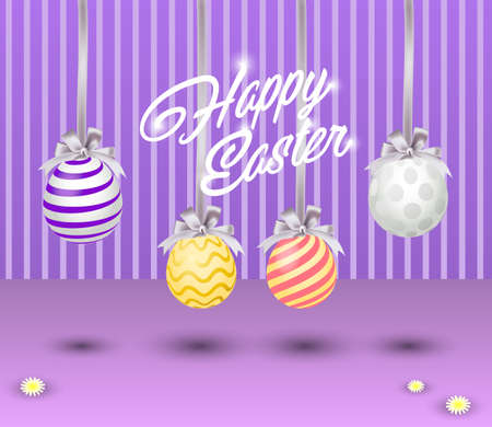 Easter Banner for e-mail marketing or advertising.  Vector eggs and flowers, 3D design Easter Sale background Illustration