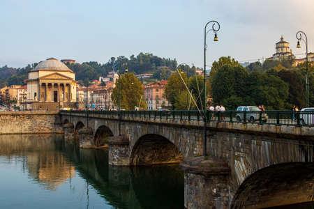 Turin Gran Madre and bridge on river Po