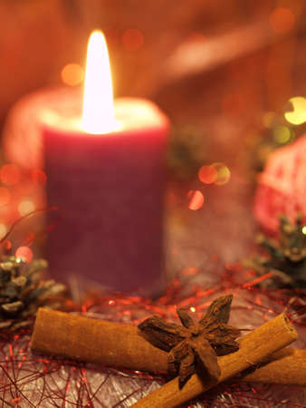 Christmas still life with candle Stock Photo - 16421552