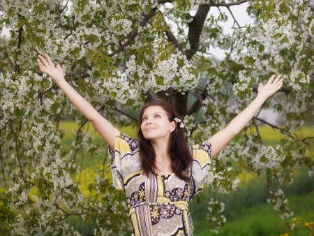 springtime: Outdoor young woman during springtime