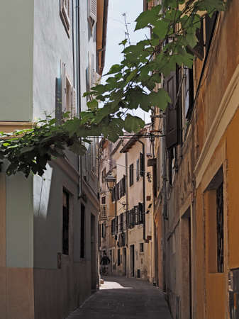 narrow streets in the historic center town Piran in Slovenian Istria on the Adriatic coast Stok Fotoğraf
