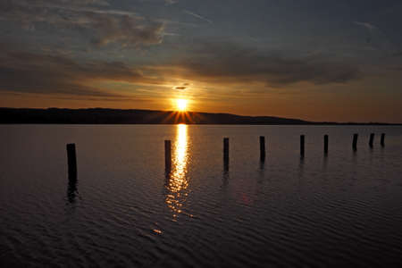 sunriset over lake Balaton near Keszthely, Hungary Stock fotó