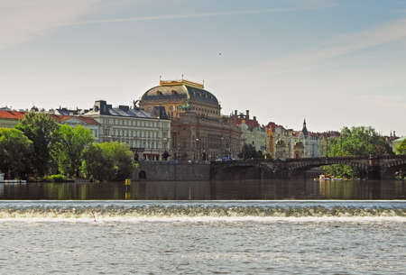view of Prague, river Vltava and National Theater from Rasin waterfront, Prague, Czech Republic Banco de Imagens