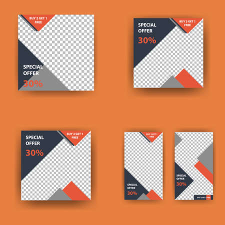 Social media pack. Business presentation template. Set of modern square blog posts Editable simple info banner, trendy book cover idea. Minimal. For app, web mail digital display style. beauty cards