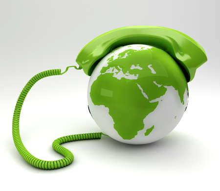 A global telecommunications concept - green phone and planet Stock Photo