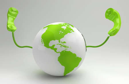 A global telecommunication concept with the green planet photo