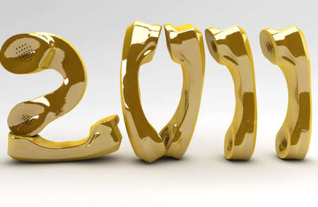 telco: Golden New Year for the telco business Stock Photo