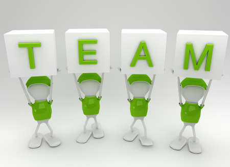 Team players working together side by side photo