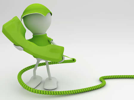 Stay connected. Telecom concept 3d render in green. Stock Photo